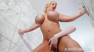 Wet, fake monster boobs in shower - comme �a MILF fucking