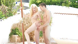 Scrawny loveliness soaks pussy with older cock