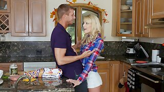 Emaciated blonde rammed in the kitchen by her stepdad