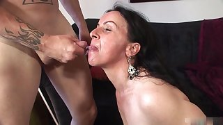 Great beautiful brunette mature with tattoo like fucking