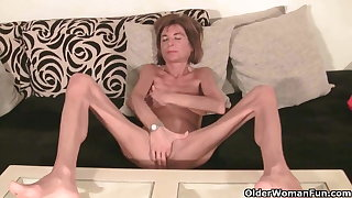 Very skinny granny strips off and masturbates (compilation)
