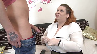 Big busty mom seduce skinny young son