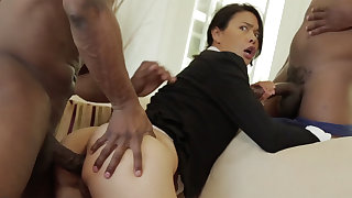 Thai MILF with a tight body destroyed in an interracial MMF