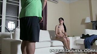 PUTA LOCURA Nerdy teen geek picked up and fucked