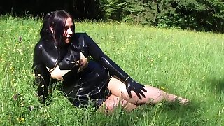 Busty Star Fighter - Outdoor Blowjob Handjob with Black Gloves - Cum on my Latex Dress