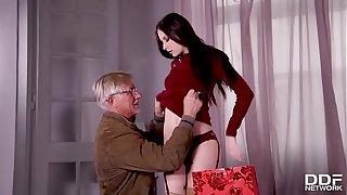Young Milf Rebecca Volpetti's Grandpa fucks her tight asshole with old dick
