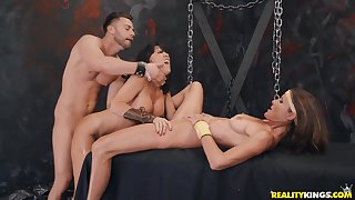 Submissive sluts in a wild BDSM threesome cam play