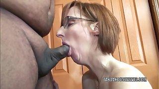 Horny housewife Layla Redd is blowing a dude she singular met