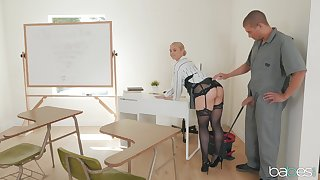 After a long girlfriend Sarah Vandella is available for hard fuck in the classroom