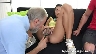 Old gynecologist is watching horny dude fucking 19 yo virgin show one's age Kelli Lox