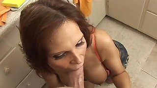 Mature gives head forth superb POV while half naked