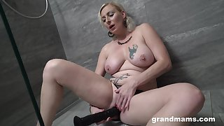 Seductive blonde woman works say no to new dildo in a XXX just