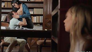 Mature librarian woman enjoys girl's boyfriend for a few fuck rounds