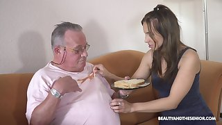 Older guy got lucky and banged hot natural tits Azure Angel