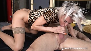 Stylish mature whore is restrictedly clothed as she rides strong cock more than top