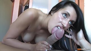Seductive brunette, Melissa Ria is sucking a hard dick in the with the aid the show one's age