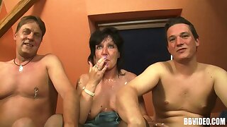 Reproachful amateur trinity with two dudes and one mature slut