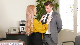 Horny busty flaxen-haired secretary Casca Akashova loves fucking mad on the take meals
