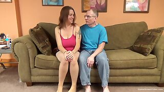 Sexy brunette amateur nearby huge natural breast is ready to let this old man have some fun!