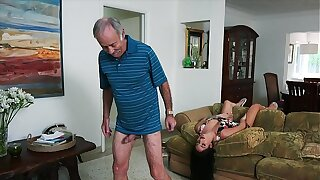BLUE Weed MEN - We Get Old Tramp Johnny An Chaperon (Aria Rose) To Fulfill His Depraved Fantasies