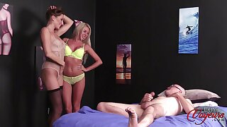 Anna Reid with the addition of Marie Carter strip down for a lucky toff to jerk off