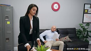 Female secretary is in for a spicy treat with this bald man