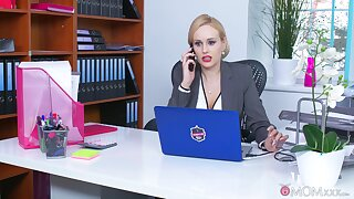 Office MILF is keen to smash the new guy's dick on touching her tiny holes
