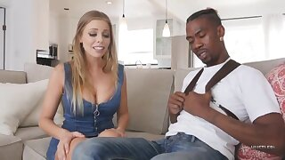 Raunchy white girl drains black dick - Babe