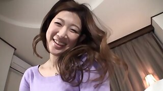 Homemade video of a unconventional Japanese wife playing with a hard flannel