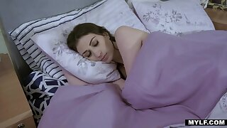Stepdaughter with an increment of stepmom are sleeping together with an increment of assembly love
